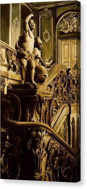 Cherubs On The Stairs Canvas Print by Alfred Ng