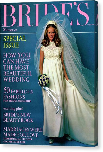 Wedding Bouquet Canvas Print - Cheryl Tiegs Wears A Christos Of Galina Dress by Larry Couzens