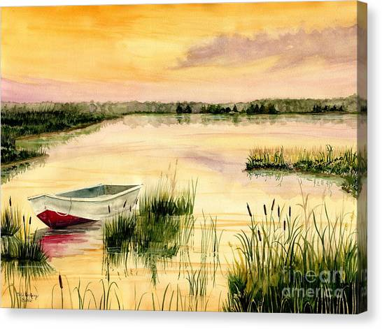 Low Tide Canvas Print - Chesapeake Marsh by Melly Terpening