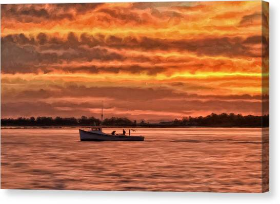 Crabbing Canvas Print - Chesapeake Watermen by Michael Pickett
