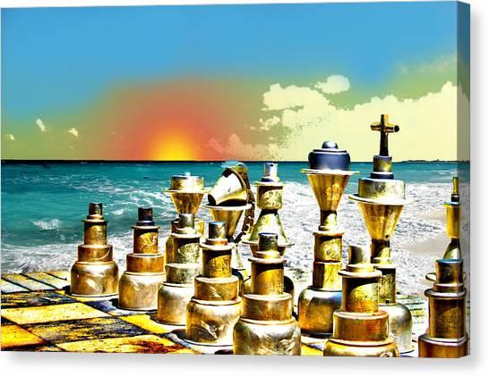 Chess On Beach Canvas Print by Frank Savarese