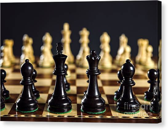 Chess King Canvas Print - Chess Pieces On Board by Elena Elisseeva