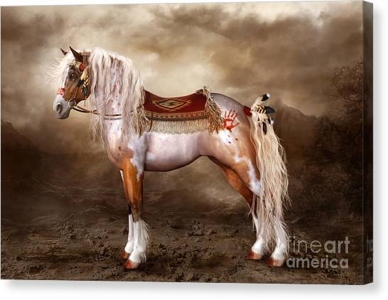 War Horse Canvas Print - Cheveyo Native American Spirit Horse by Shanina Conway