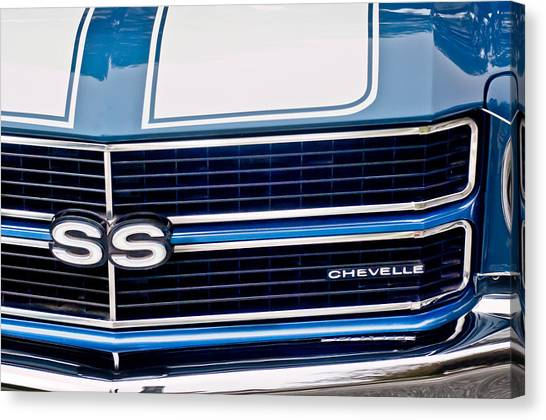 Canvas Print featuring the photograph Chevrolet Chevelle Ss Grille Emblem 2 by Jill Reger