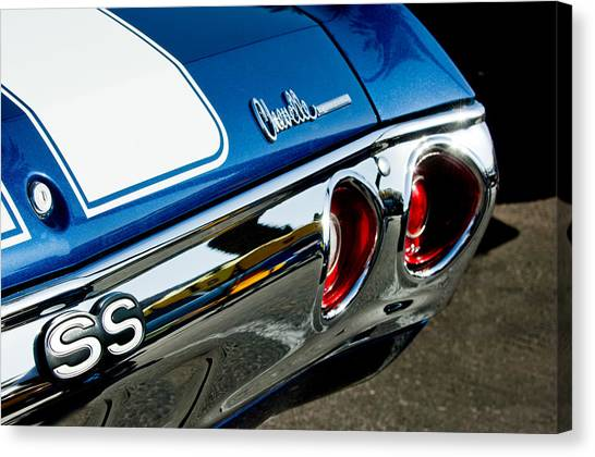 Chevelle Canvas Print - Chevrolet Chevelle Ss Taillight Emblem -0158c by Jill Reger
