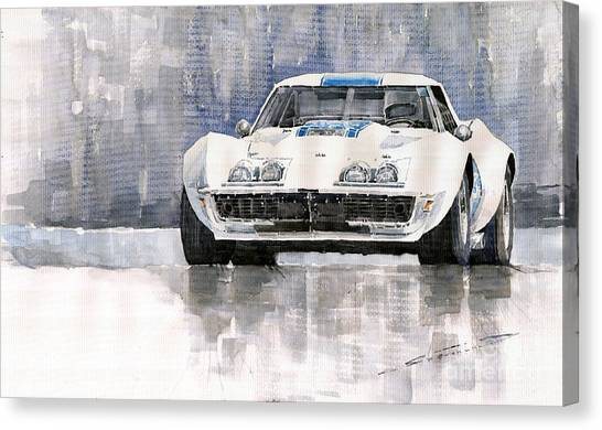 Sports Cars Canvas Print - Chevrolet Corvette C3 by Yuriy Shevchuk