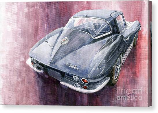 Automobiles Canvas Print - Chevrolet Corvette Sting Ray 1965 by Yuriy Shevchuk
