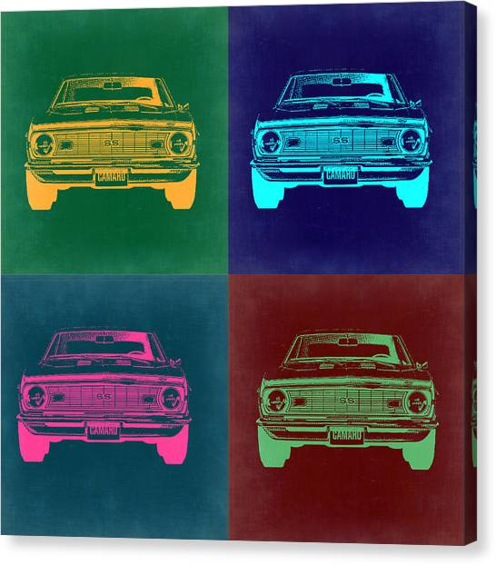 Muscle Cars Canvas Print - Chevy Camaro Pop Art 2 by Naxart Studio