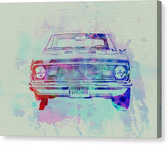 Chevy Canvas Print - Chevy Camaro Watercolor 2 by Naxart Studio
