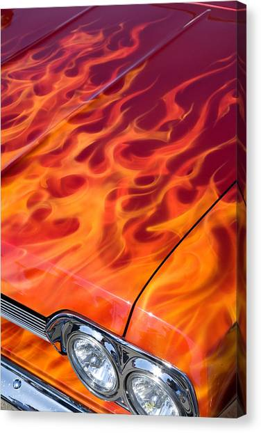 Chevy Flames Canvas Print by Peter Tellone