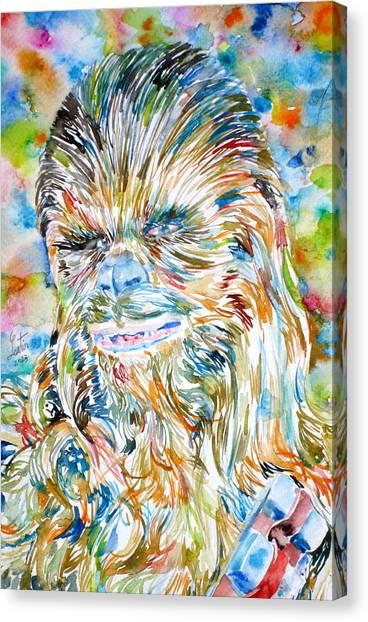 Chewbacca Canvas Print - Chewbacca Watercolor Portrait by Fabrizio Cassetta