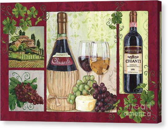 Red Wine Canvas Print - Chianti And Friends 2 by Debbie DeWitt