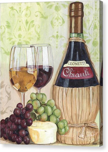 Red Wine Canvas Print - Chianti And Friends by Debbie DeWitt