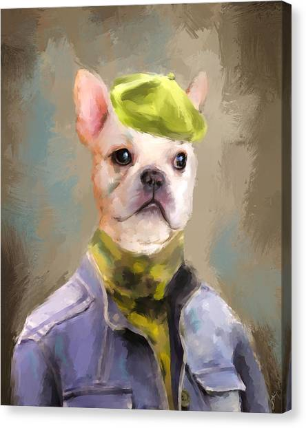 Chic French Bulldog Canvas Print