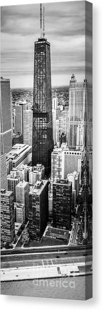 Hancock Building Canvas Print - Chicago Aerial Vertical Panoramic Picture by Paul Velgos