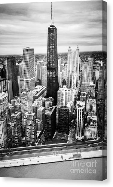 Hancock Building Canvas Print - Chicago Aerial With Hancock Building In Black And White by Paul Velgos