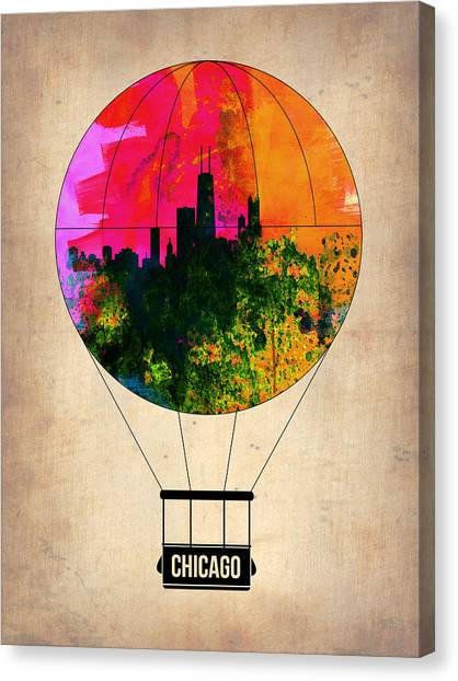 University Of Illinois Canvas Print - Chicago Air Balloon by Naxart Studio