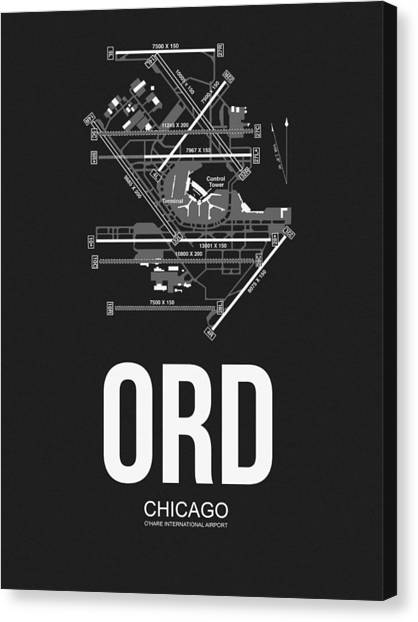 Tourist Canvas Print - Chicago Airport Poster by Naxart Studio