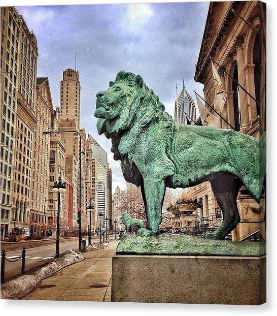 Sears Tower Canvas Print - Chicago Art Institute Lion Statue by Paul Velgos