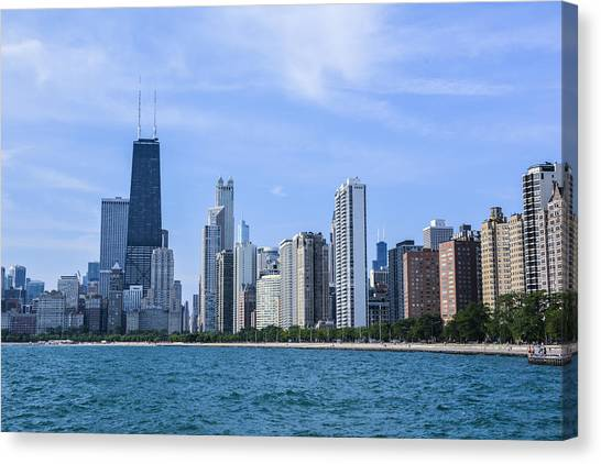 Chicago As Seen From North Ave Beach Canvas Print by Michael  Bennett