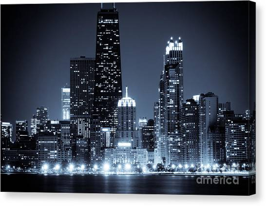 Hancock Building Canvas Print - Chicago At Night With Hancock Building by Paul Velgos