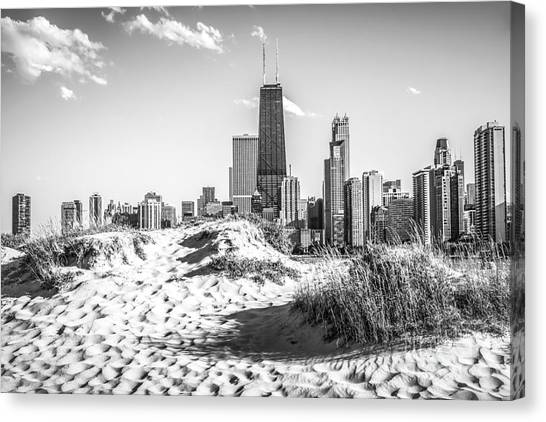 Hancock Building Canvas Print - Chicago Beach And Skyline Black And White Photo by Paul Velgos