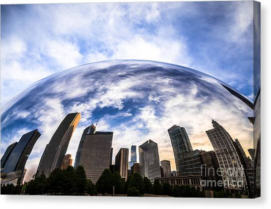 Skylines Canvas Print - Chicago Bean Cloud Gate Skyline by Paul Velgos