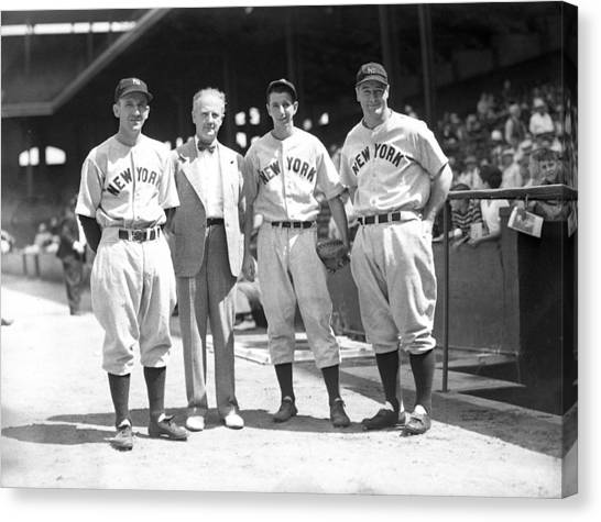 Braces Canvas Print - Lou Gehrig And Teammates by Retro Images Archive