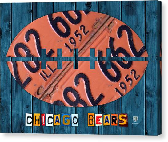 Quarterbacks Canvas Print - Chicago Bears Football Recycled License Plate Art by Design Turnpike
