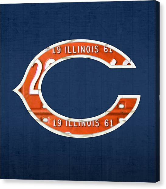 Chicago Bears Canvas Print - Chicago Bears Football Team Retro Logo Illinois License Plate Art by Design Turnpike
