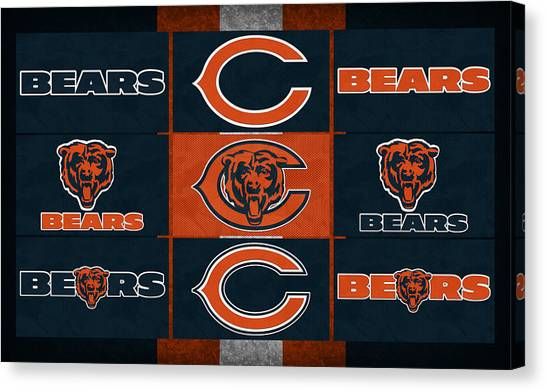 Chicago Bears Canvas Print - Chicago Bears Uniform Patches by Joe Hamilton