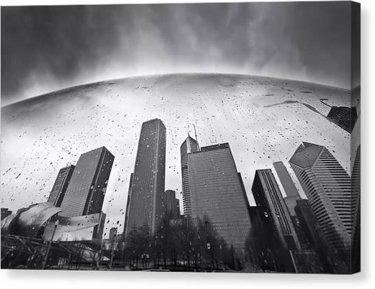 Chicago Skyline Art Canvas Print - Chicago Black And White Photography by Dapixara Art
