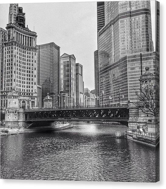 Architecture Canvas Print - #chicago #blackandwhite #urban by Paul Velgos