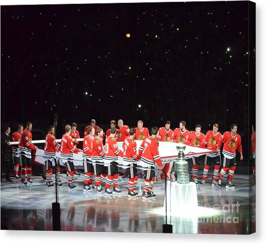 Chicago Blackhawks And The Banner Canvas Print