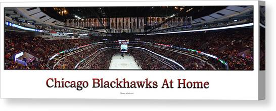 Patrick Kane Canvas Print - Chicago Blackhawks At Home Panorama White by Thomas Woolworth