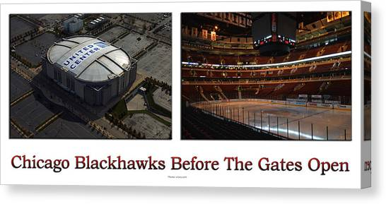 Patrick Kane Canvas Print - Chicago Blackhawks Before The Gates Open Interior 2 Panel White 01 by Thomas Woolworth