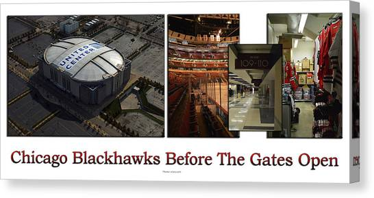 Patrick Kane Canvas Print - Chicago Blackhawks Before The Gates Open Interior 2 Panel White 02 by Thomas Woolworth