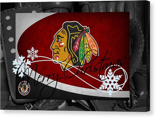 Blackhawk Canvas Print - Chicago Blackhawks Christmas by Joe Hamilton
