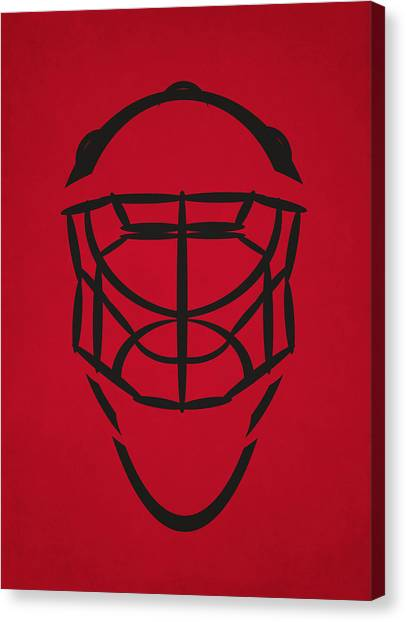 Blackhawk Canvas Print - Chicago Blackhawks Goalie Mask by Joe Hamilton