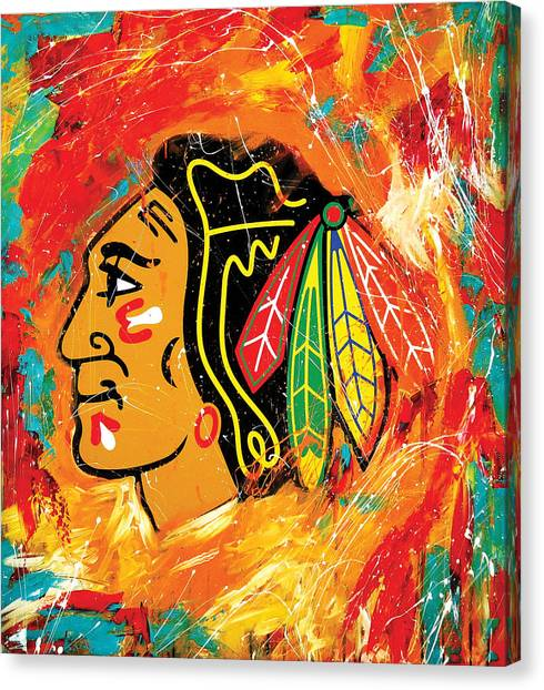 Skating Canvas Print - Chicago Blackhawks Logo by Elliott From