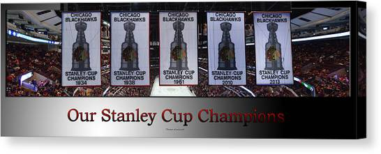 Patrick Kane Canvas Print - Chicago Blackhawks Our Stanley Cup Champions Banners Sb by Thomas Woolworth