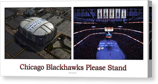 Patrick Kane Canvas Print - Chicago Blackhawks Please Stand Up 2 Panel White by Thomas Woolworth