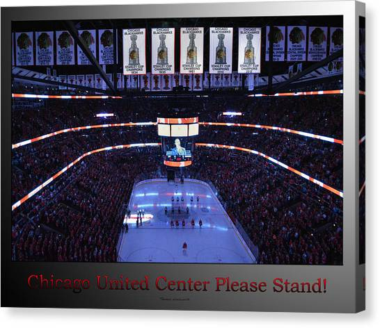 Patrick Kane Canvas Print - Chicago Blackhawks Please Stand Up With Red Text Sb by Thomas Woolworth
