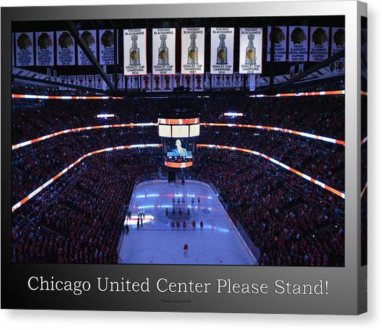 Patrick Kane Canvas Print - Chicago Blackhawks Please Stand Up With White Text Sb by Thomas Woolworth