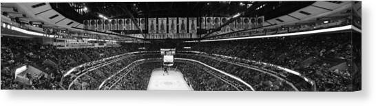 Patrick Kane Canvas Print - Chicago Blackhawks United Center Panorama Bw by Thomas Woolworth
