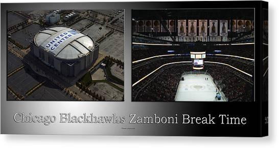 Patrick Kane Canvas Print - Chicago Blackhawks Zamboni Break Time 2 Panel Sb by Thomas Woolworth