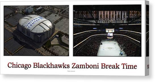 Patrick Kane Canvas Print - Chicago Blackhawks Zamboni Break Time 2 Panel White by Thomas Woolworth