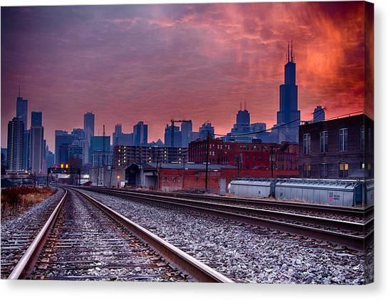 Chicago Bound 12-2-13 Sunrise  Canvas Print by Michael  Bennett