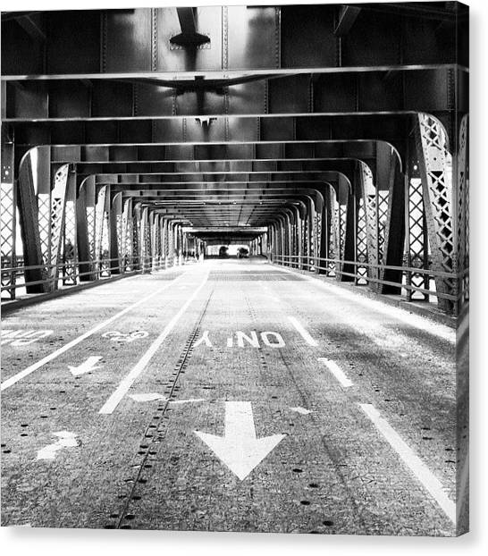 White Canvas Print - Chicago Wells Street Bridge Picture by Paul Velgos