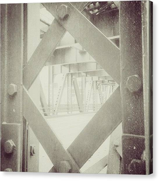 Geometric Canvas Print - Chicago Bridge Ironwork Vintage Photo by Paul Velgos